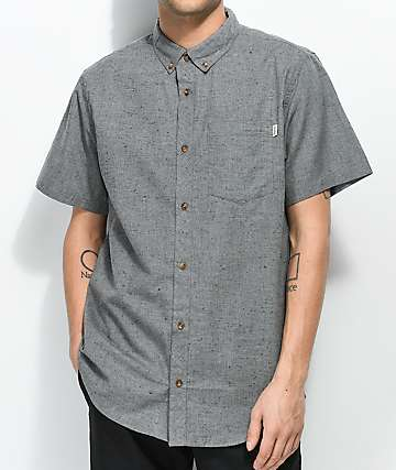 Dravus Alvin Jasper Heather Grey Short Sleeve Button Up Shirt