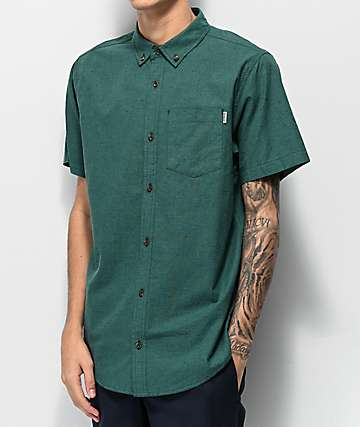 Dravus Alvin Sea Green Woven Short Sleeve Button Up Shirt