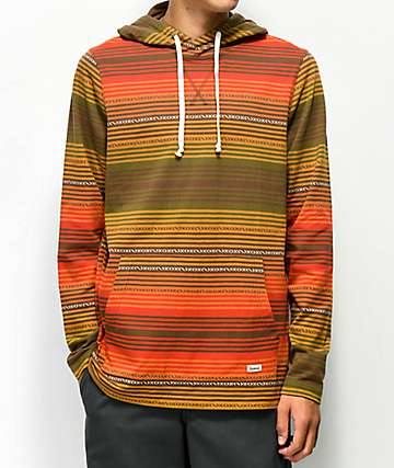 Dravus Baja Brown & Red Jacquard Hooded Long Sleeve Shirt