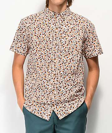 Dravus Blitzen Floral White Woven Short Sleeve Button Up Shirt