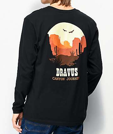 Dravus Canyon Journey Black Long Sleeve T-Shirt