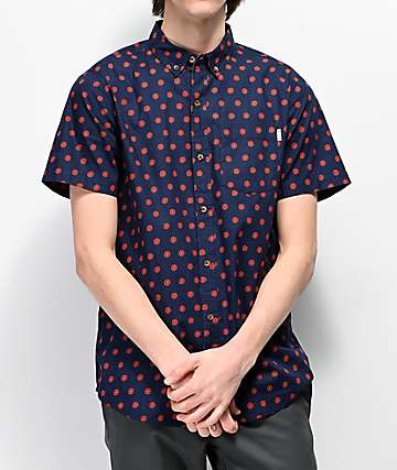Dravus Daized Navy Woven Short Sleeve Button Up Shirt