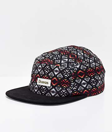 Dravus Dark Alpine Black 5 Panel Strapback Hat