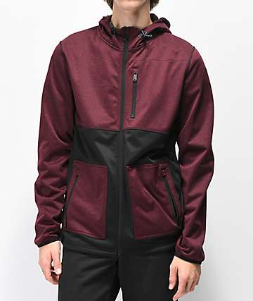 Dravus Elliot Black & Burgundy Tech Fleece