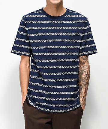 Dravus Ford Jacquard Striped Navy T-Shirt