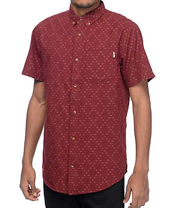Dravus Foster Burgundy & White Dobby Short Sleeve Button Up Shirt