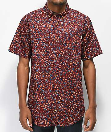 Dravus Geoff Burgundy Floral Button Up Shirt