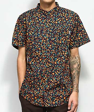 Dravus Geoff Navy Ditsy Print Short Sleeve Button Up Shirt