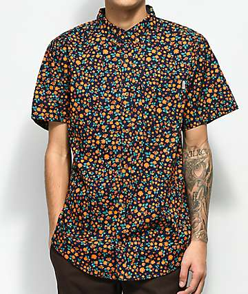 Dravus Geoff Navy Ditsy Print Short Sleeve Button Up Shirt