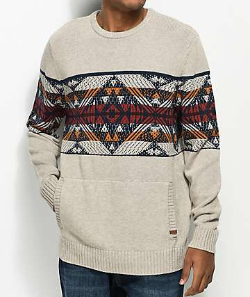 Dravus Harold Oat Fair Isle Crew Neck Sweater