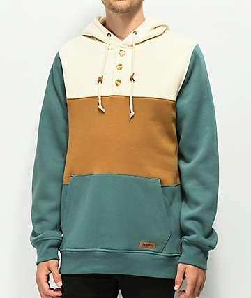 Dravus Hues Cream, Brown & Green Colorblocked Hoodie