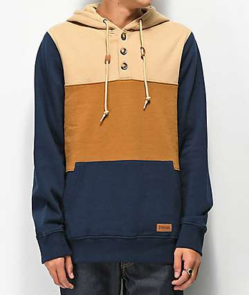 Dravus Hues Tan, Brown & Navy Colorblocked Hoodie