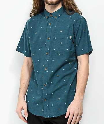 Dravus Jacob Blue Short Sleeve Button Up Shirt