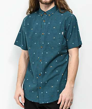 Dravus Jacob Blue Short Sleeve Button Up Shirt