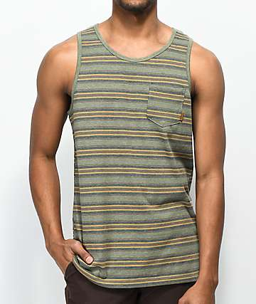 Dravus Jasper Green Stripe Tank Top