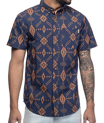 Dravus Joshua Tree Dark Ikat Short Sleeve Button Up Shirt