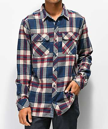 Dravus Jubal Burgundy & Blue Flannel Shirt