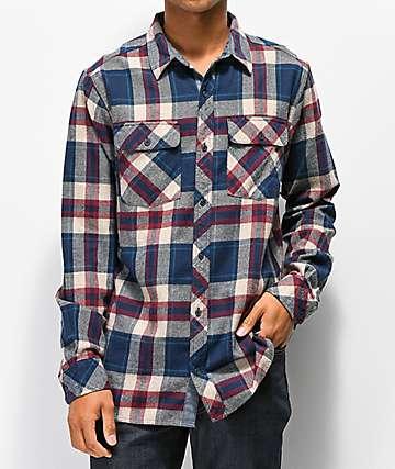 Dravus Jubal camisa de franela azul y borgoña
