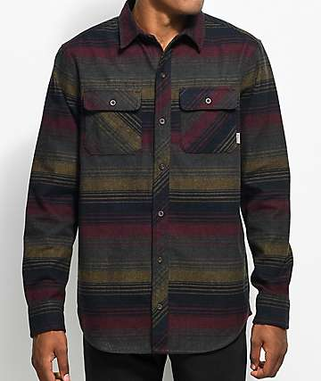 Dravus Kurt Charcoal, Burgundy & Navy Stripe Flannel Shirt