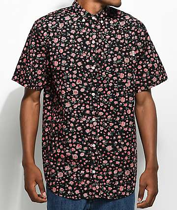 Dravus Landon Black Floral Short Sleeve Button Up Shirt