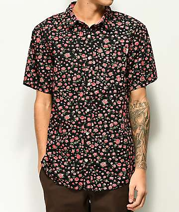 Dravus Landon Roses Black Short Sleeve Button Up Shirt
