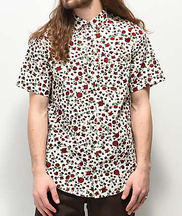 Dravus Landon White Woven Short Sleeve Button Up Shirt