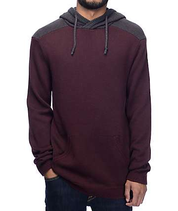 Dravus Mahlon Crossneck Burgundy & Charcoal Hooded Sweater