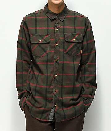 Dravus Mark camisa de franela marrón, verde y roja