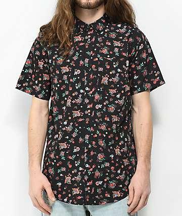 Dravus Medby Black Ditsy Print Short Sleeve Button Up Shirt