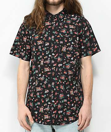 Dravus Medby Black Ditsy Print Short Sleeve Button Up Shirt