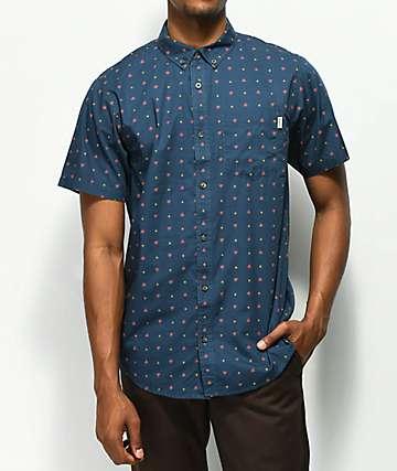 Dravus Paul camisa de manga corta azul marino con estampado rojo y marrón