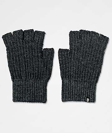 Dravus Ribless Charcoal Fingerless Knit Gloves