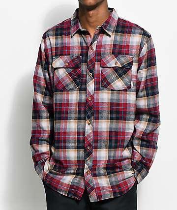 Dravus Richard camisa de franela en color borgoño y negro