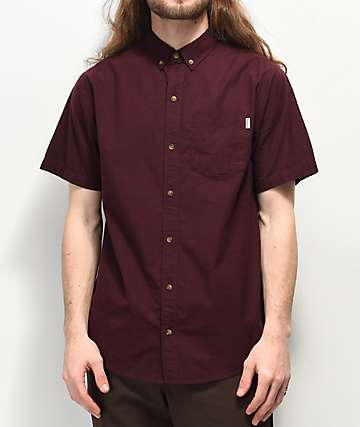 Dravus Robby Dark Red Woven Short Sleeve Button Up Shirt