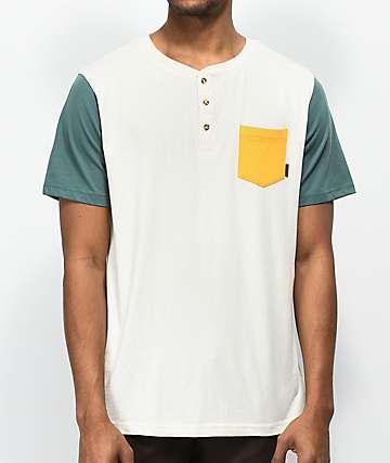 Dravus Sail camiseta con bolsillo en color crema y verde
