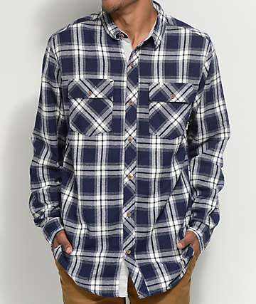 Dravus Scott camisa de franela en azul marino y blanco