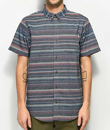 Dravus Shawn Navy, Red & Khaki Striped Short Sleeve Button Up Shirt