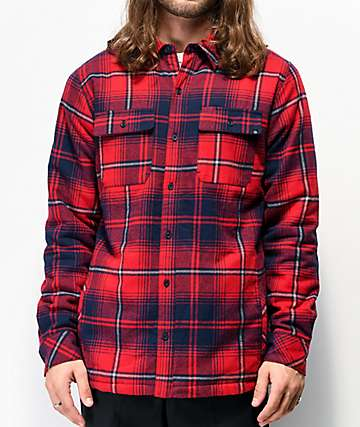 Dravus Sherpa Red & Navy Flannel Shirt