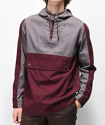Dravus Slick chaqueta anorak gris y borgoña
