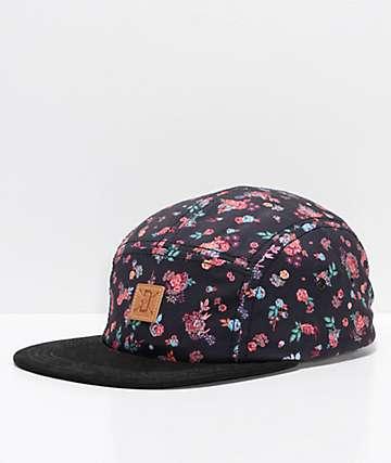 Dravus Sofa gorra negra floral de cinco paneles