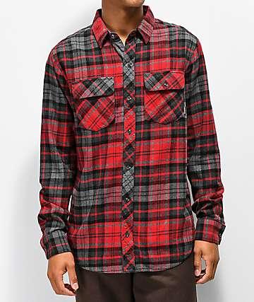 Dravus Travis camisa de franela roja y gris