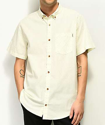Dravus Tyler Off White Short Sleeve Button Up Shirt