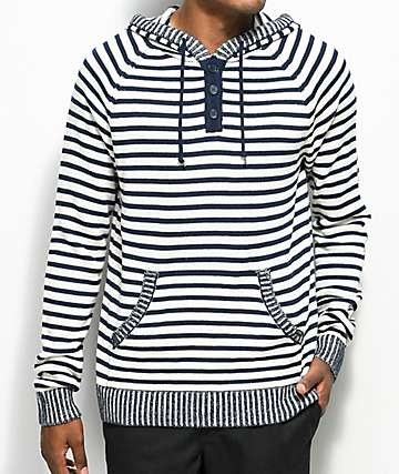 Dravus Van Henley Navy & Natural Stripe Hoodie