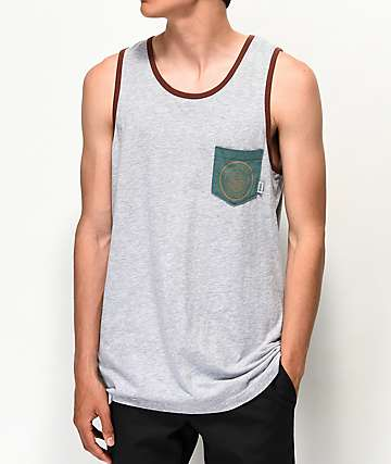 Dravus Ventura Grey & Brown Pocket Tank Top
