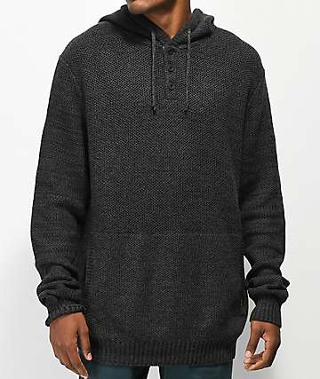Dravus Warsaw Black Knit Henley Hoodie