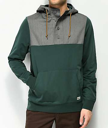 Dravus Weekender Hooded Henley Green & Grey Hoodie