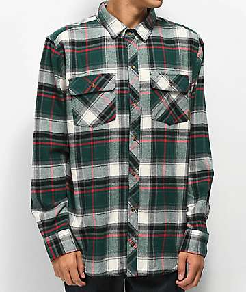 Dravus Willy camisa de franela verde, blanca y negra