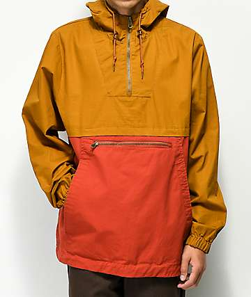 Dravus Winds chaqueta anorak marrón y roja