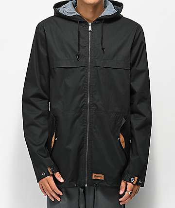 Dravus Woodland Black Full Zip Hooded Jacket