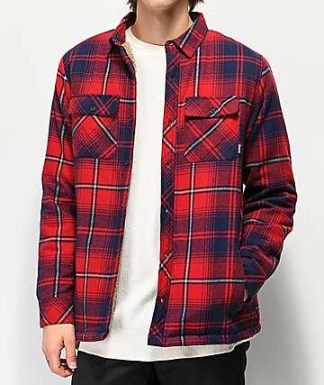 Dravus camisa de franela roja y azul con sherpa